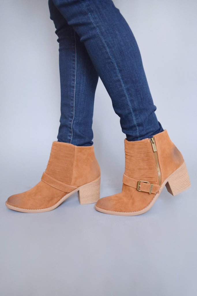 Cute Online avenue buckle booties camel