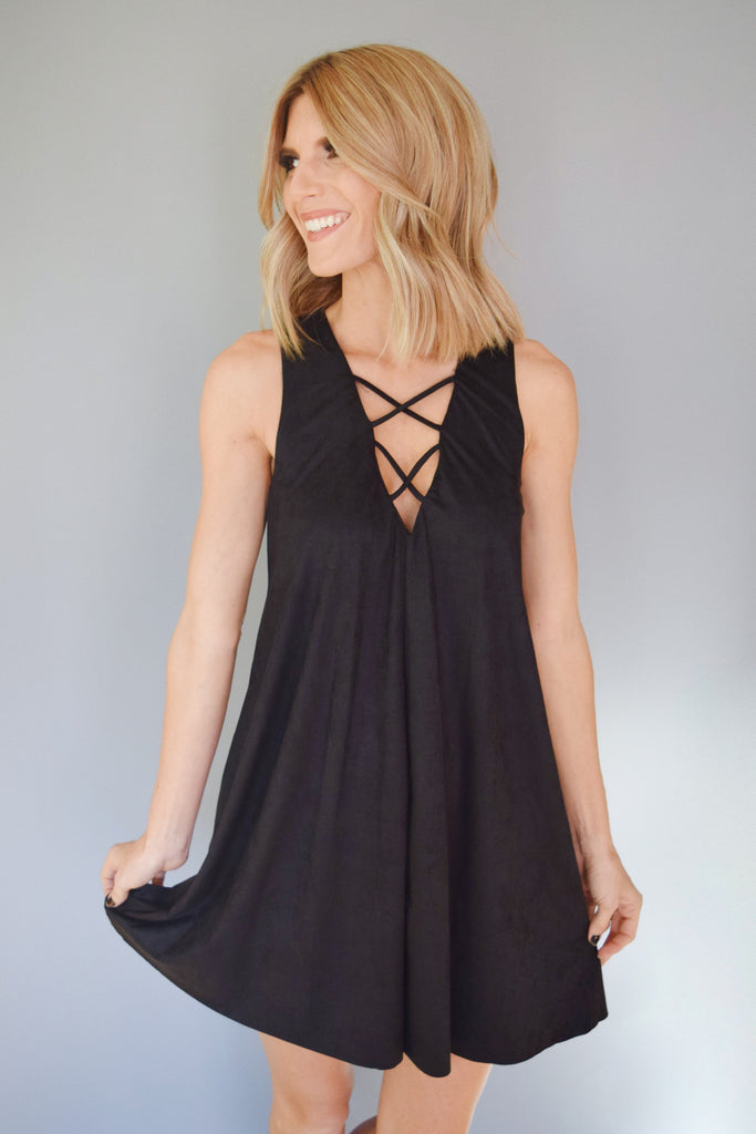 Colorado Chic Winding Road Faux Suede Dress Black