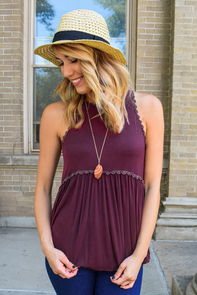 Womens Boutique Weekend Forever Tank Burgundy