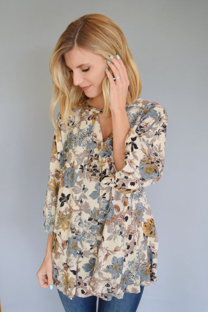 Affordable Online fall floral cut out top