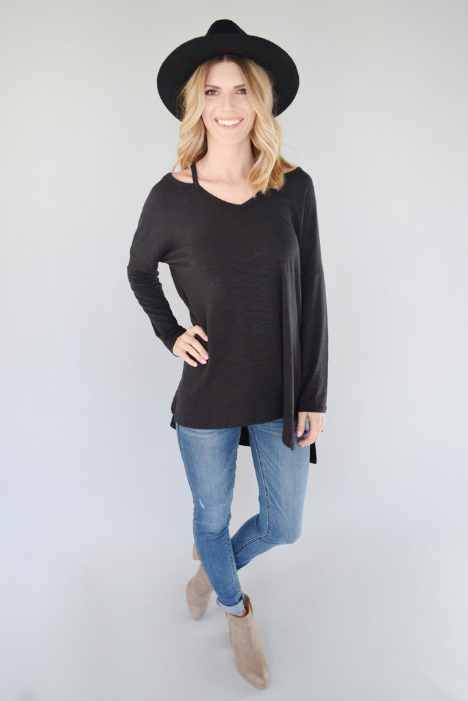 Water Valley Cutout Top Black