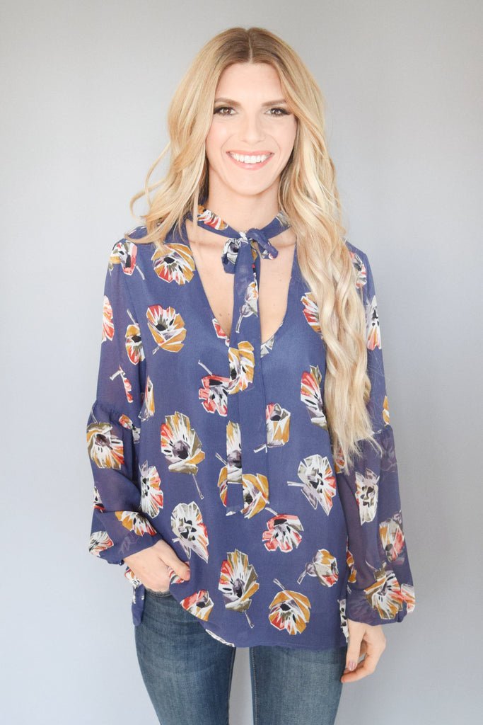 Into the Blue Floral Blouse