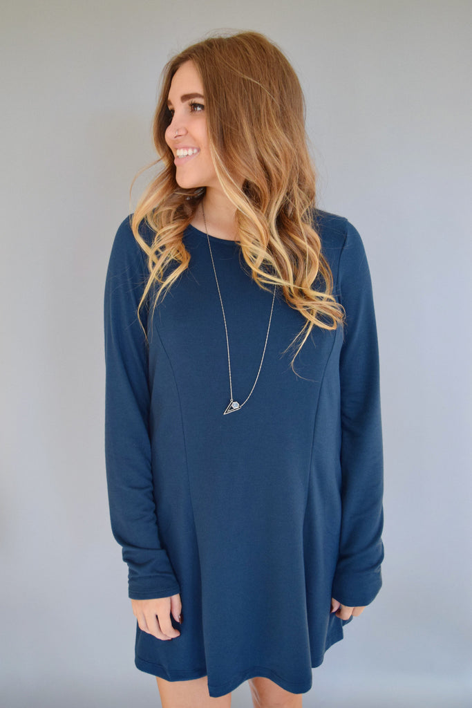 Womens Boutique knit long sleeve dress deep blue