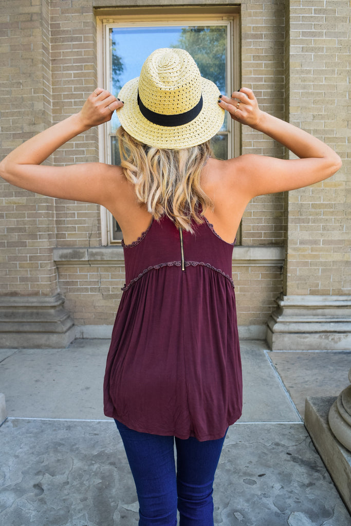 Affordable weekend forever tank burgundy