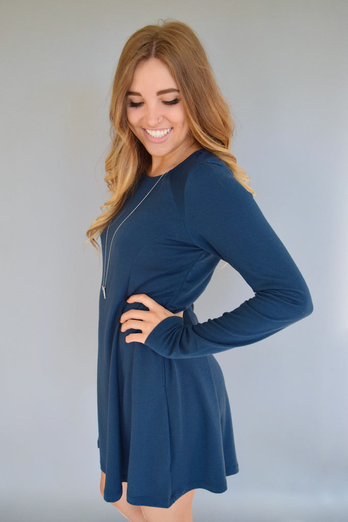 Chic Knit Long Sleeve Dress Deep Blue