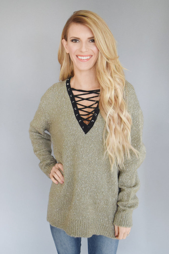 Green Tea Lace Up Sweater
