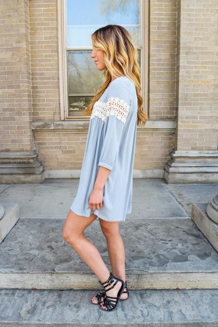 Trendy sneak peek grey babydoll dress