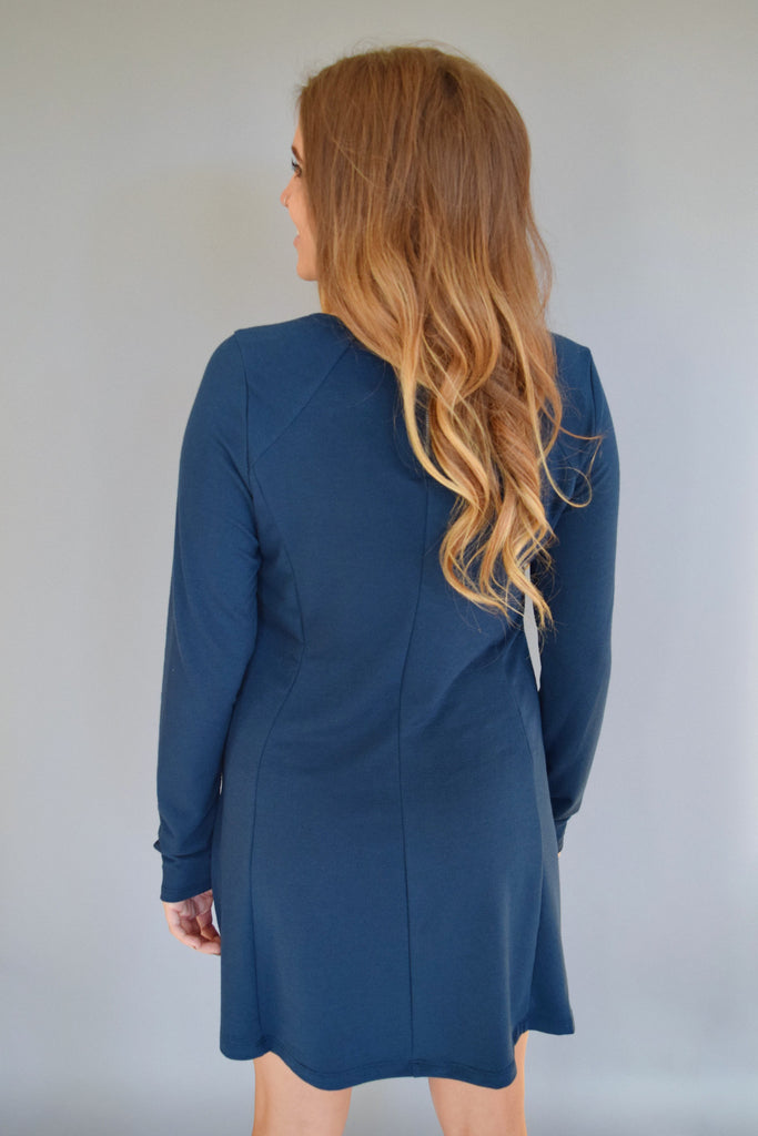 Colorado Chic knit long sleeve dress deep blue