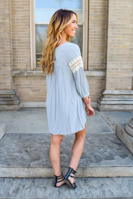 Womens Online sneak peek grey babydoll dress