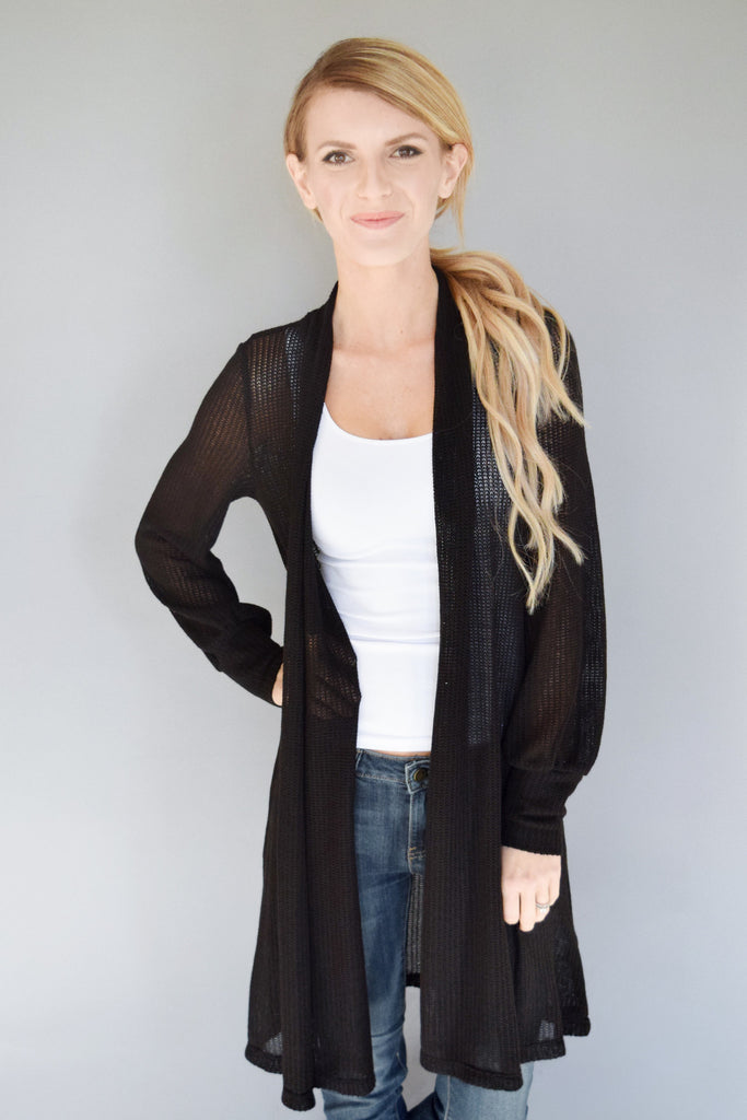 Clear Water Open Knit Cardigan Black