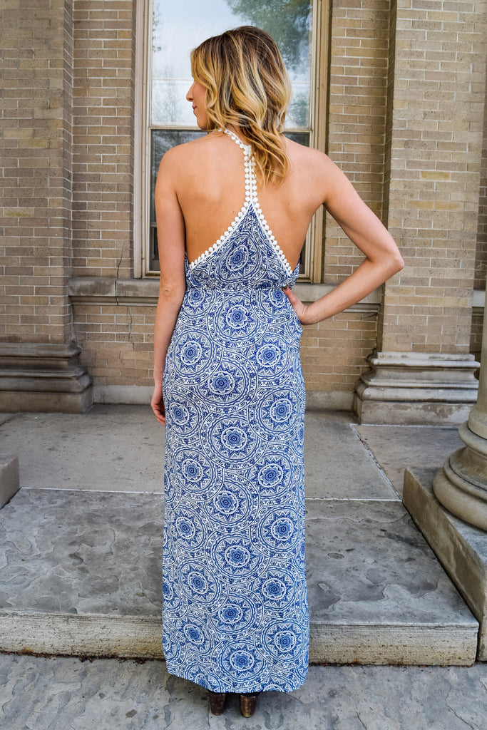 Trendy Online poolside party blue print dress