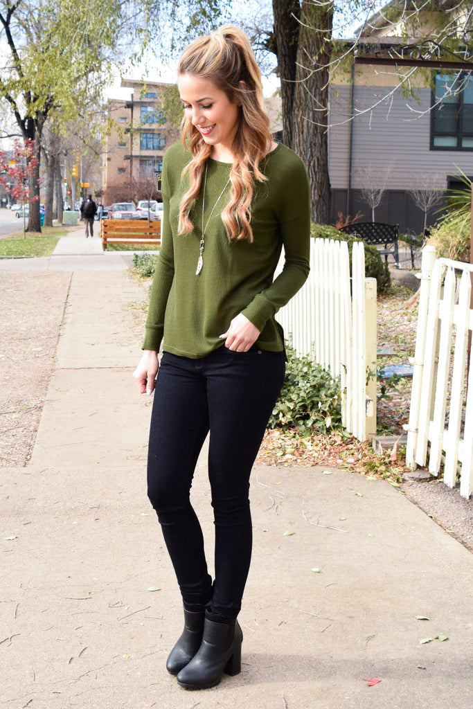 Trendy Online olive ribbed long sleeve top
