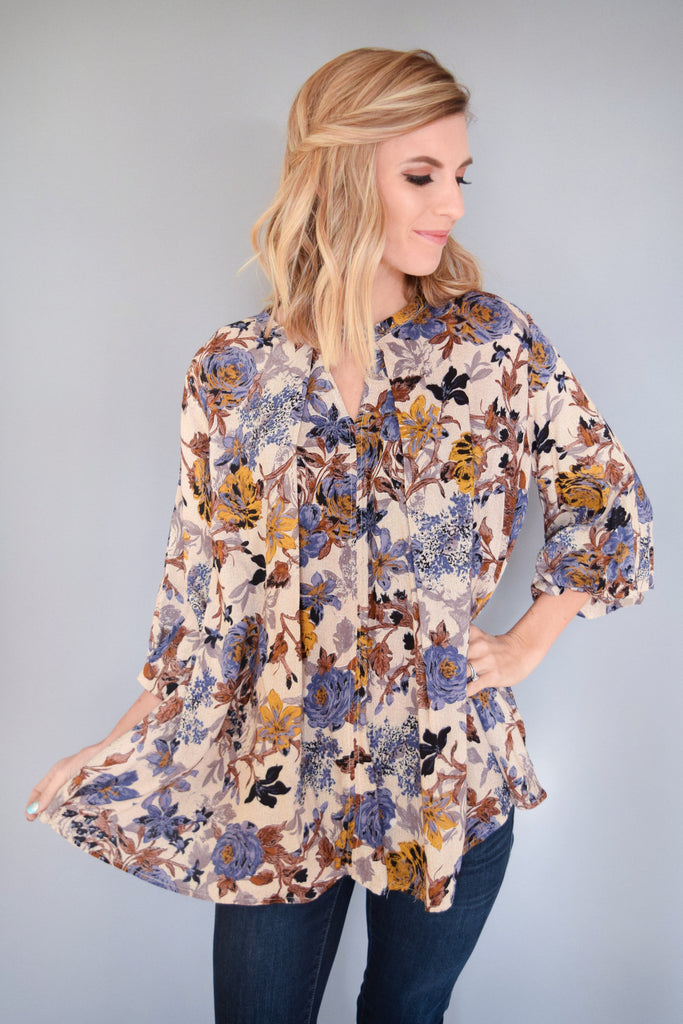 Trendy Fall Floral Cutout Top Blue