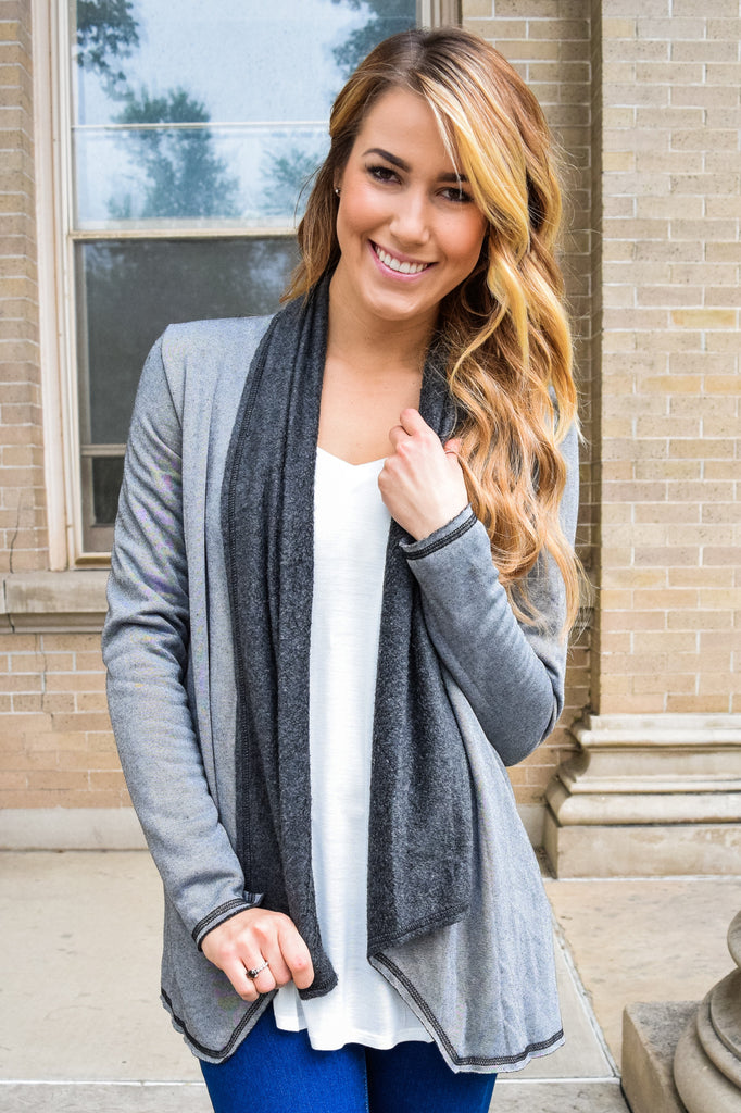Chic warm sherpa cardigan charcoal