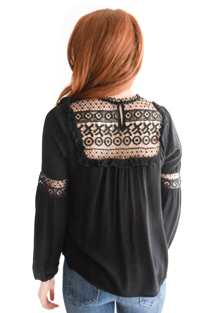 Darling Lace Detail Top In Black