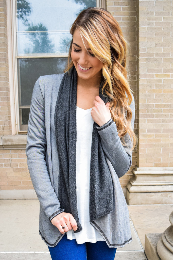Affordable Online Warm Sherpa Cardigan Charcoal