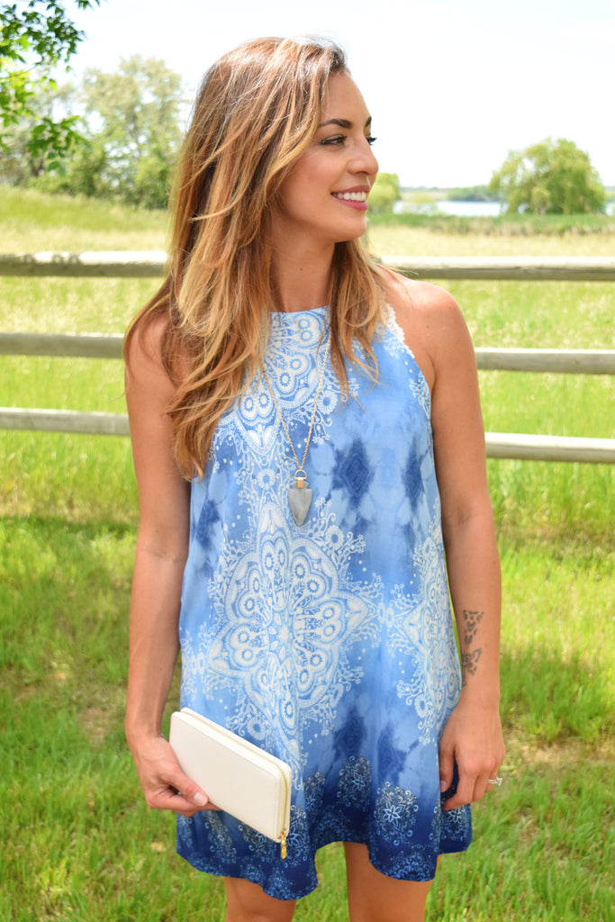 Womens Boutique ocean wave printed tunic