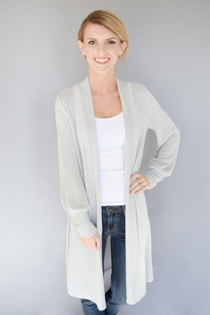 Clear Water Open Knit Cardigan Heather Grey