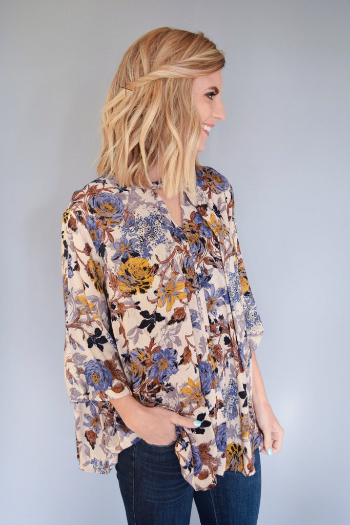 Womens Online fall floral cutout top blue