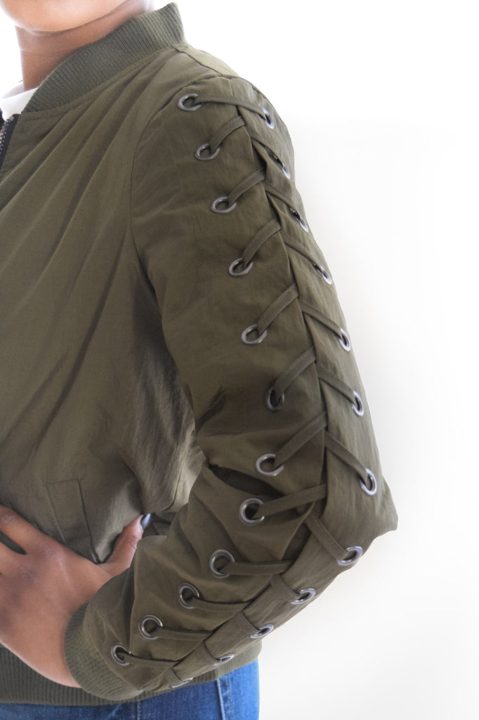 Golden Girl Bomber Jacket In Olive