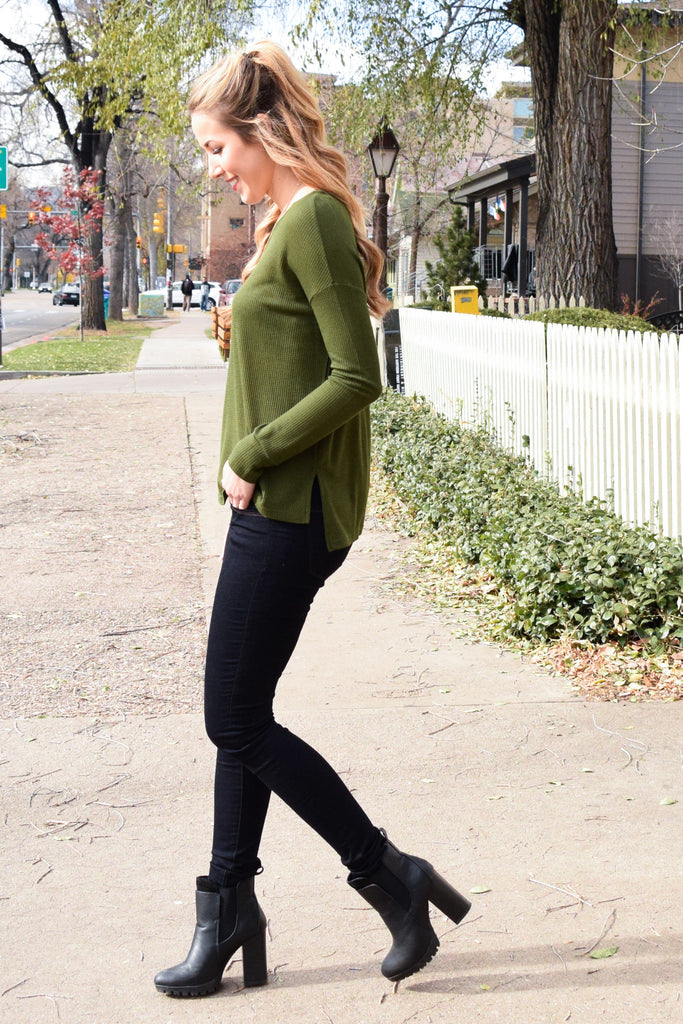 Affordable Online olive ribbed long sleeve top