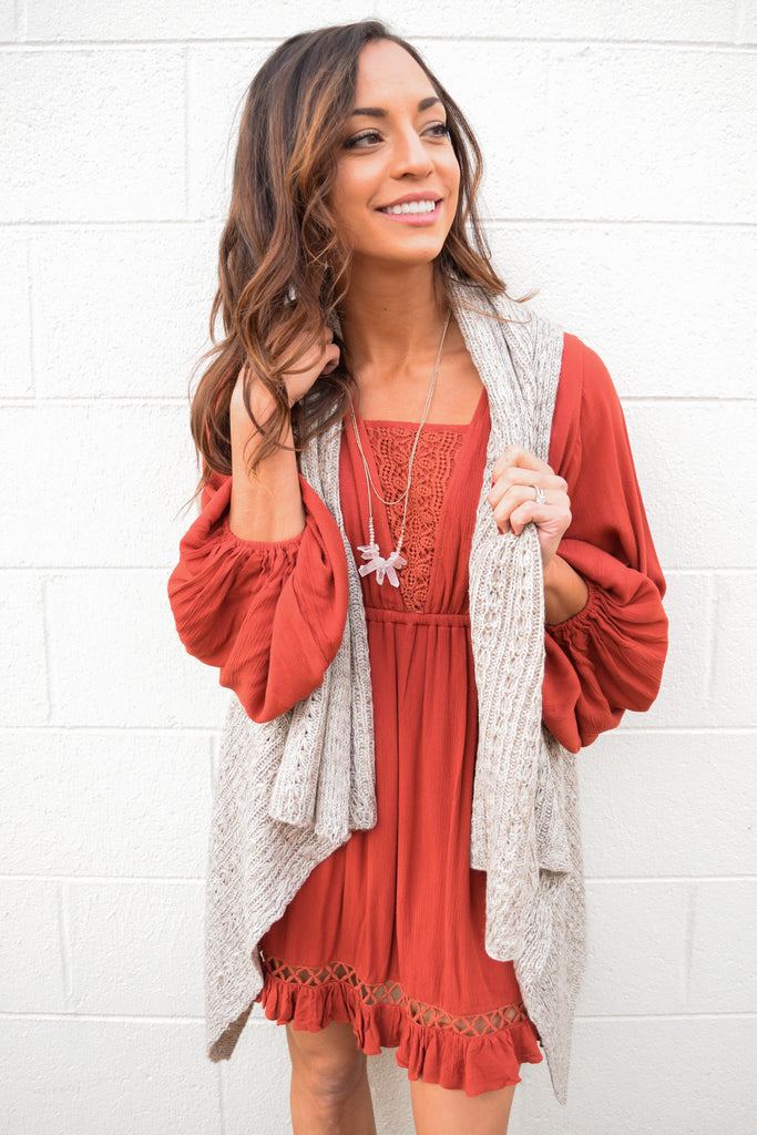 Colorado Chic Destination Vail Taupe Knit Vest