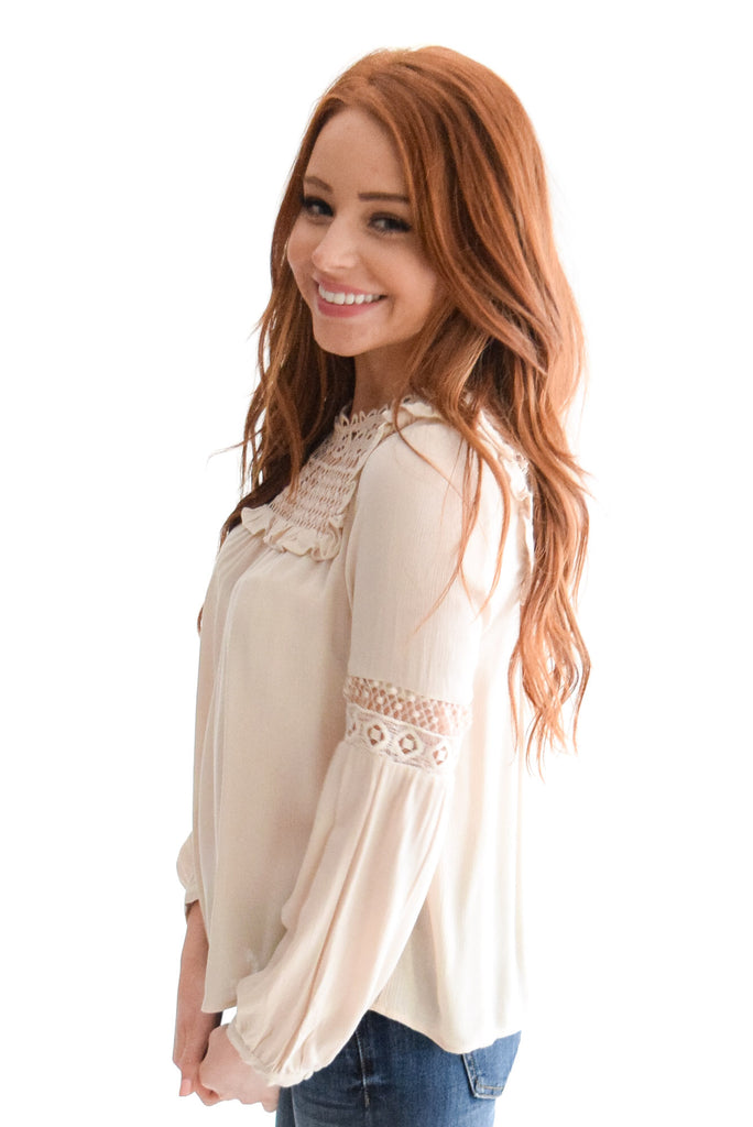Darling Lace Detail Top In Taupe