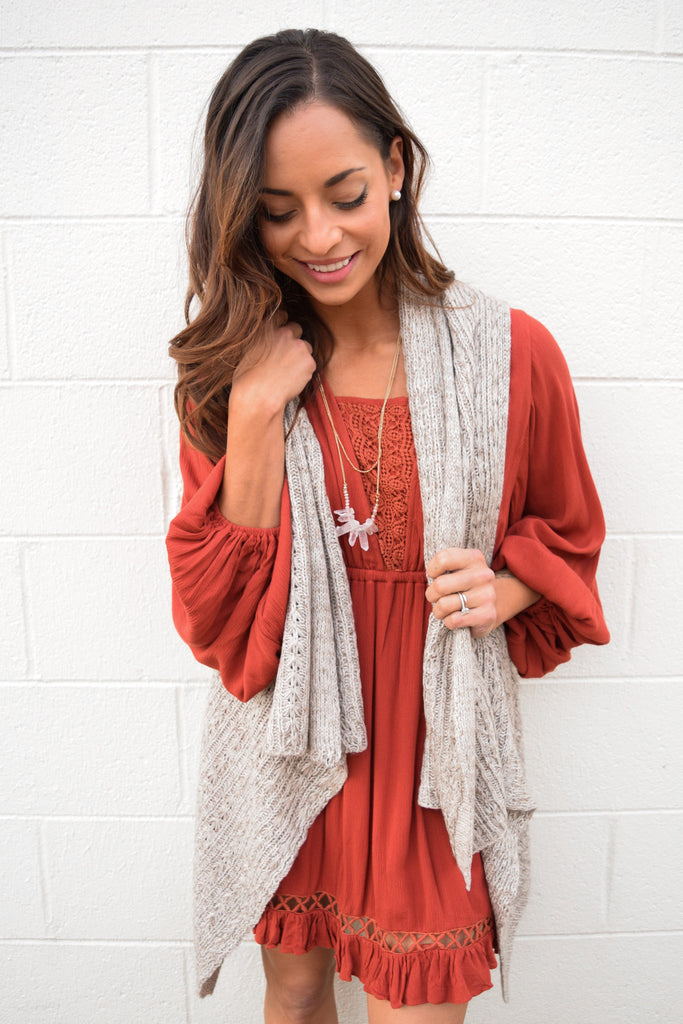 Womens Boutique taupe hooded knit vest