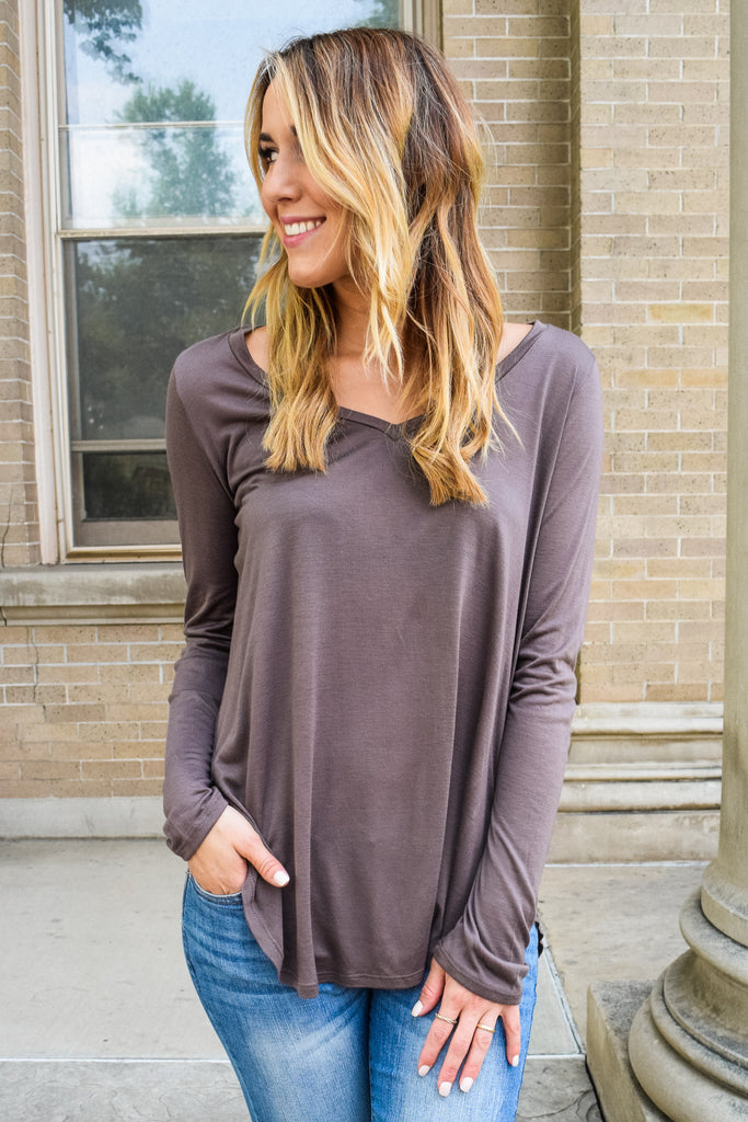 Trendy Online fall like a feather tunic mocha