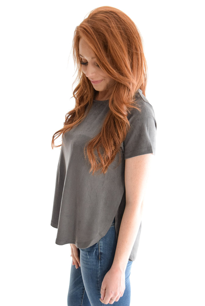 City Lights Faux Suede Top In Charcoal