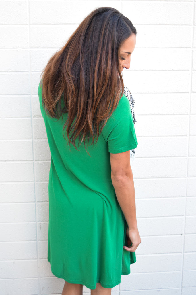 Womens Boutique forever dreaming tee shirt dress green