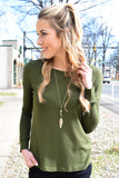 Cute Online Olive Waffle Knit Long Sleeve Top