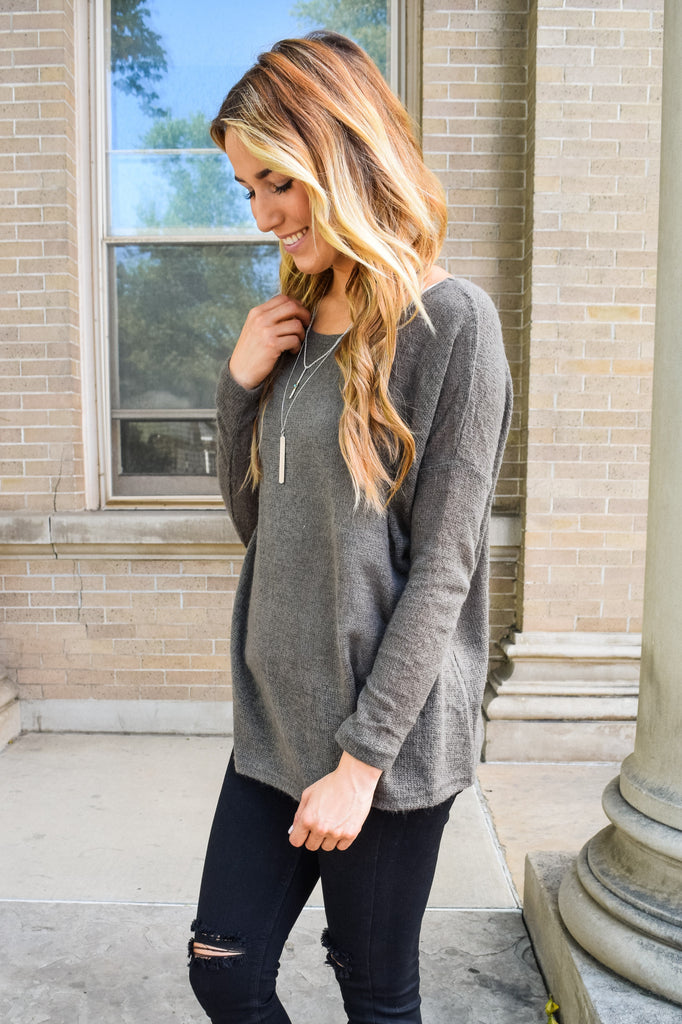 Affordable simple and soft sweater charcoal
