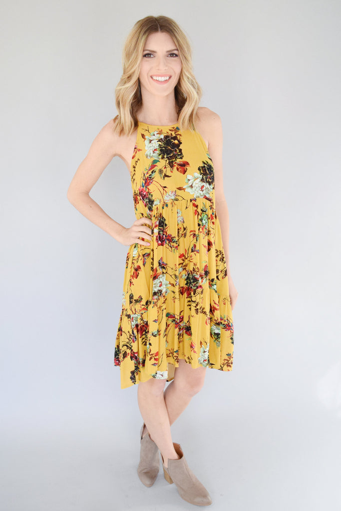 Hayden Flower Mustard Dress