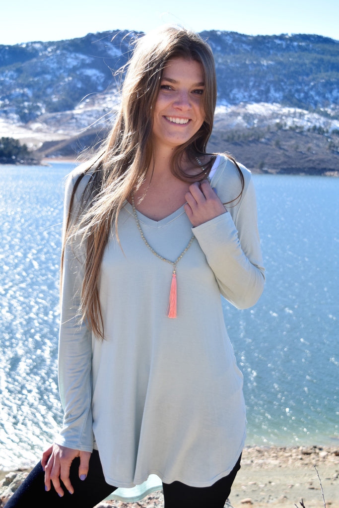 Chic fall like a feather tunic mint