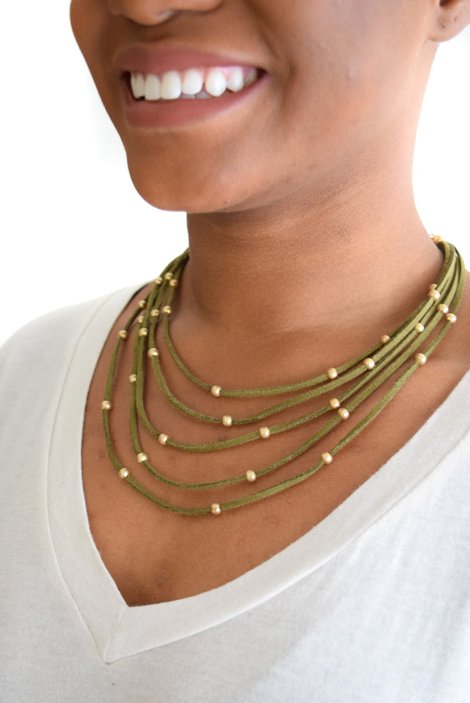 Multi Suede Gold Bead Necklace Olive