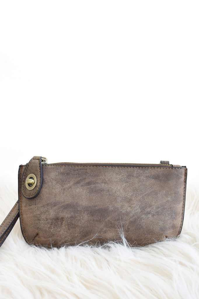 Crossbody Wristlet In Brown