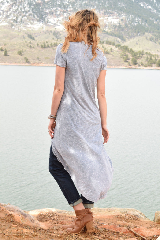 Affordable stone washed high low dress