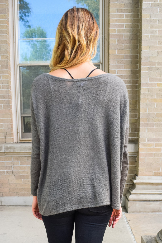Trendy simple and soft sweater charcoal