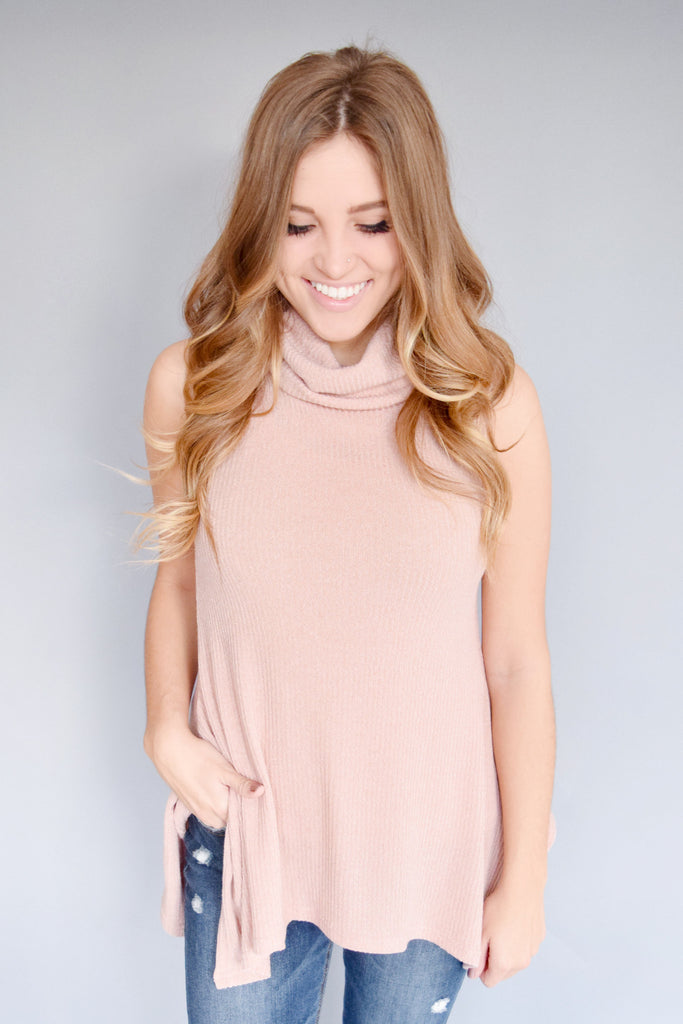 Affordable knit cowl neck tunic rose