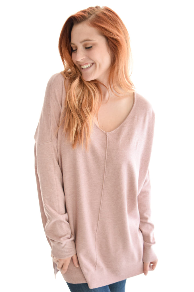Mountain Road Sweater In Dusty Pink