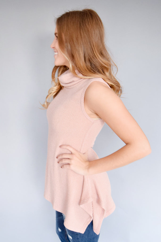 Trendy knit cowl neck tunic rose
