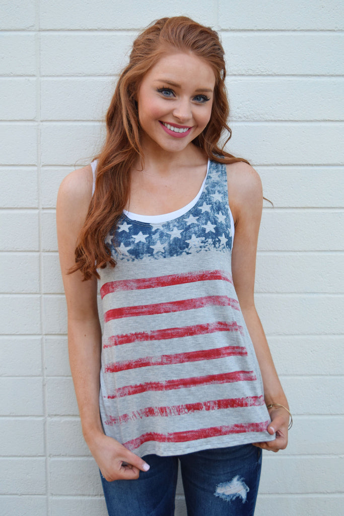 Chic Stars and Stripes Tank Grey