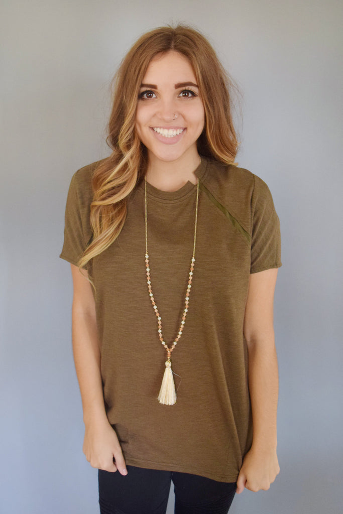Chic olive mesh pannel tee