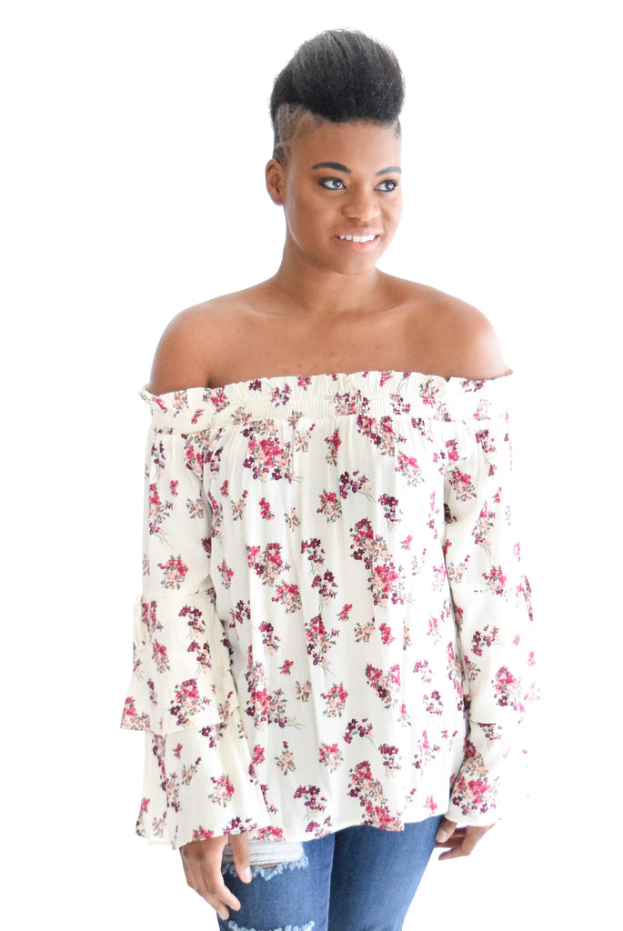 Brace Yourself Floral Top In Cream