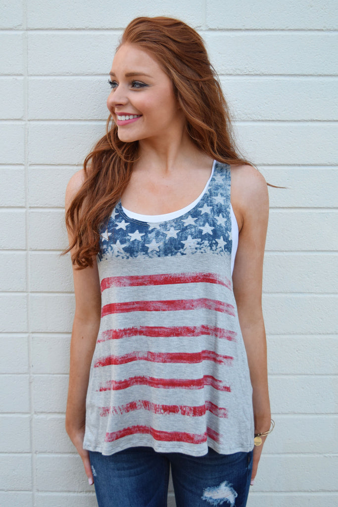 Womens Boutique stars and stripes tank grey