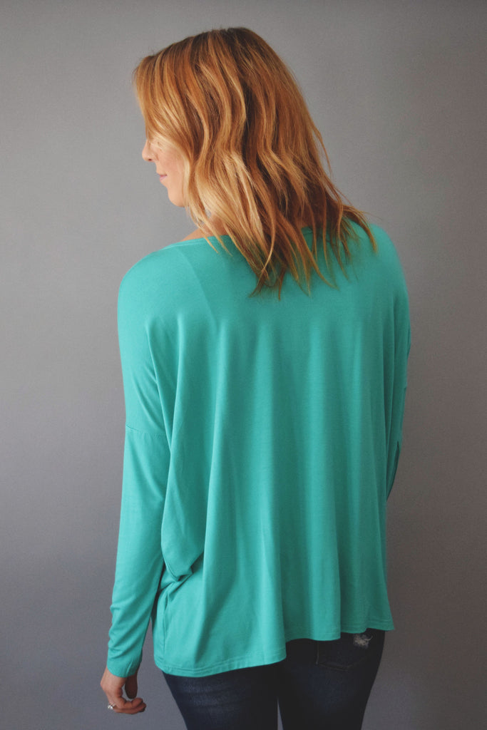 Womens Boutique love to lounge long sleeve top jade