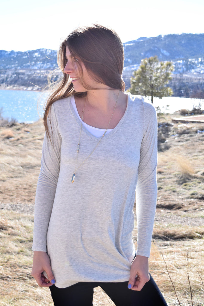 Affordable Fall Like a Feather Tunic Heather Grey