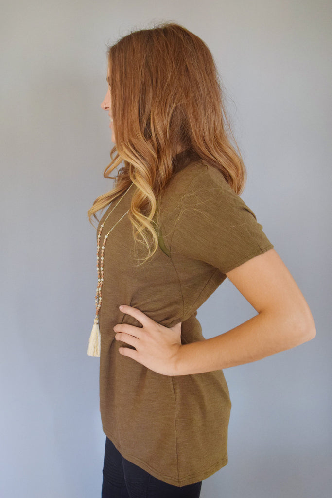 Colorado Chic olive mesh pannel tee