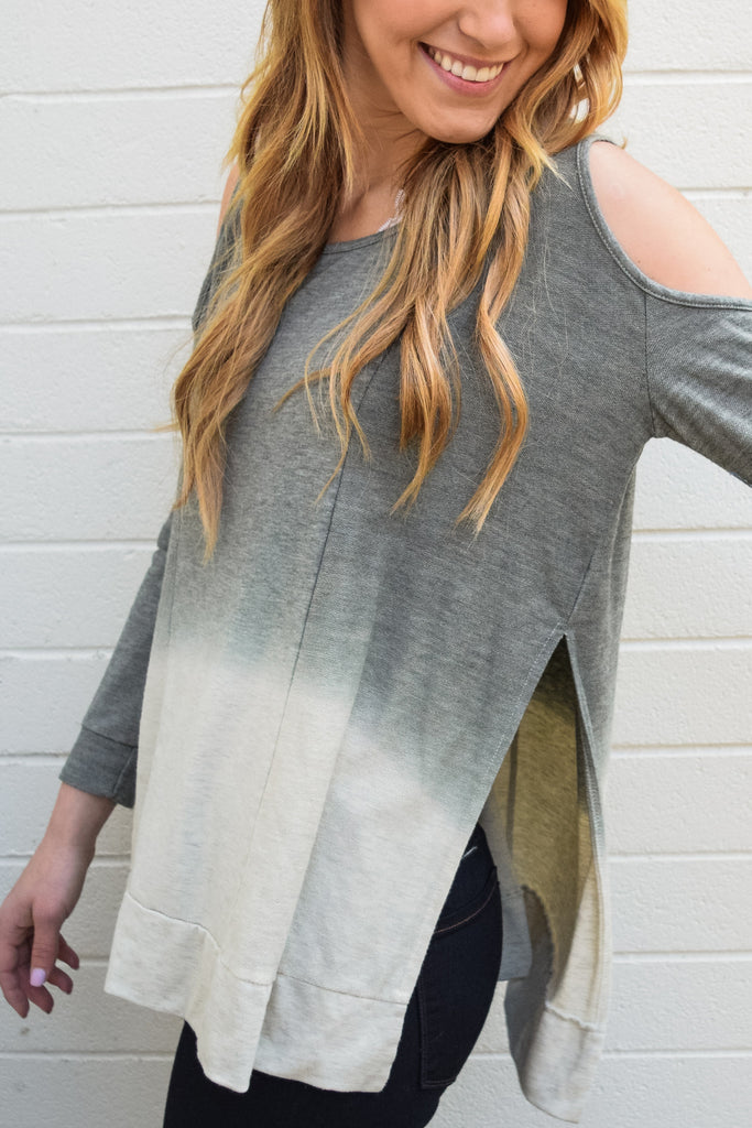 Affordable olive dip dyed top